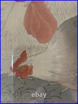 Original Japanese Woodblock Print by OHARA KOSON Roosters Rare Framed Cocks