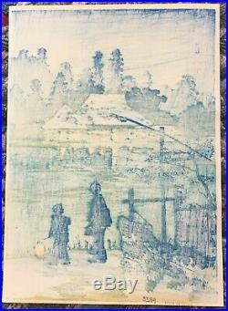 Original Japanese Woodblock Print by SHOTEI Lakeside House Mabashi
