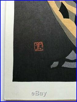 Original Kaoru Kawano Big Owl Japanese Woodblock Print Red Seal Nice