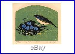Original Signed Shiro Takagi Japanese Woodblock Print Sparrow 1972