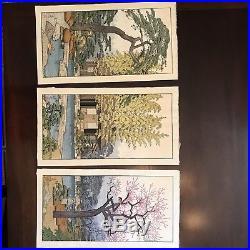 Original Toshi Yoshida(1911-1995) Wood Block Print Triptych-The Friendly Garden