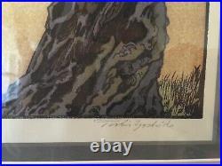 Original Toshi Yoshida Japanese Woodblock Print Cherry Blossoms, 1941