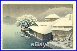 PRISTINE! 1935 Kawase Hasui Ishinomaki in Snow Original Japanese Woodblock Print