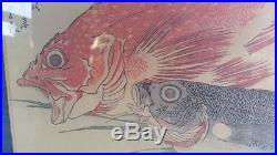 RARE 1800's ANDO HIROSHIGE Red and Blue Fish Japanese Woodblock Print Signed
