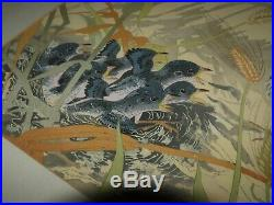 RARE Japanese Woodblock by Tsuchiya Rakusan Momma Bird & her Babies