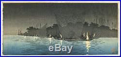 RARE Takahashi Shotei Japanese Woodblock Print Pre-1923 Pre Quake NIGHT FISHING