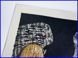 Rare Japanese Kiyoshi Saito Woodblock Print HANIWA 2 Art Work Signed