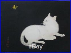 Rare Japanese Woodblock Print Cat Kitten Kitty White Butterfly Yellow Vintage