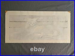 Rare Junichiro Sekino Woodblock Cat Print 1956 51/100 Mid Century Japanese Art