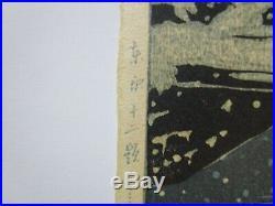 Rare Kawase Hasui Japanese Woodblock Print Night Snow Mountain People Urban