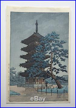 Rare Kawase Hasui Japanese Woodblock Print Rain in Nara