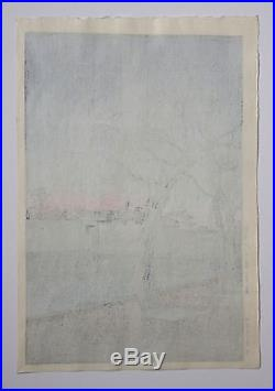 Rare Kawase Hasui Japanese Woodblock Print Spring Evening Otemon 1st Edition