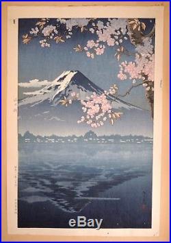 Rare Tsuchiya Koitsu Woodblock Print Lake Kawaguchi 1936 Japanese Fuji Blossoms