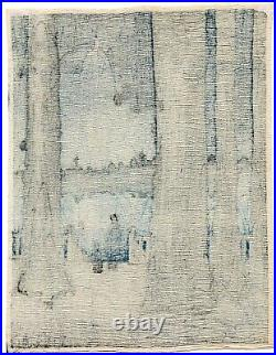 SHODA KOHO Ueno Park (rare chirimen-gami-e) antique Japanese woodblock print