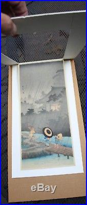 SHOTEI TAKAHASHI SIGNED Japanese Woodblock Print Shower at Terashima, 1935