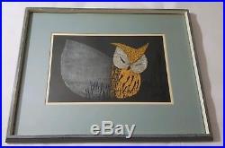 SIGNED Japanese Woodblock Print Moonlight Night depicts an Owl by Kawano Kaoru