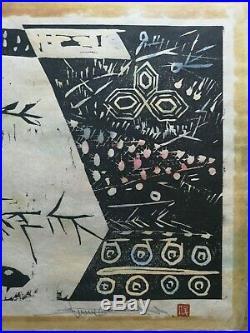 Sasayama Shunk, Kototoi no matsu, original woodblock print, 9/30, 1982