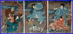 Set of 3 Kuniyoshi Triptychs, Original Japanese Woodblock Print, Art, Ukiyo-e