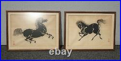 Set of Two Vintage Japanese Wood Block Horse Prints Signed