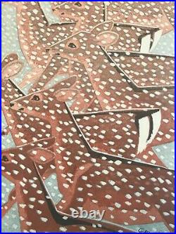 Shiro Kasamatsu Deer in Snow Woodblock Print Japan 1961 Signed Vintage Framed