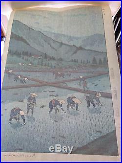 Shiro Kasamatsu JAPANESE Woodblock Print SHIN HANGA Rice Planting Kyobishi Co