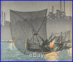 Shotei Takahashi Woodblock, Night Fishing at Tsukuda. C. 1930s. 15 x 6 ¾