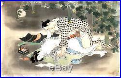 Shunga on silk unsigned Japanese Woodblock Print Ukiyo-e