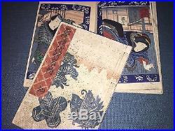 Shunga, one Japanese woodblock print book 3 diptychs + 2 single, Kunisada