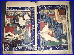 Shunga, one Japanese woodblock print book 5 diptychs + 2 single, Kunisada