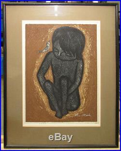 Shuzo Ikeda'64 Modern Japanese Color Woodblock Girl & Bird Listed Sosaku Hanga