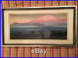 Signed & Dated 1977 Toshi Yoshida Woodblock Print # 203/600 Kilimanjaro Morning