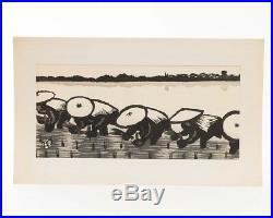 Signed Gihachiro Okuyama Rice Field Planting Japanese Woodblock Print 19 x 9.5