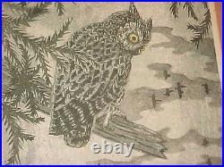 Signed Masaharu Aoyama Japanese Color Woodblock Print Midcentury Modern Owl Art