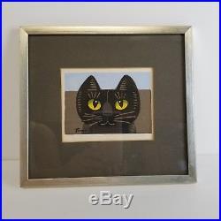 Signed Tomoo Inagaki Black Cat Japanese Wood Block Print Japan Tmoo Art Vintage