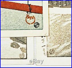 Stunning! 1934 Kawase Hasui Yakumo Bridge Snow Original Japanese Woodblock Print