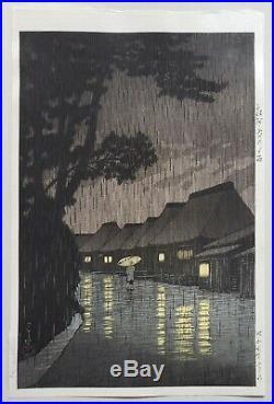Superb! 1932 Kawase Hasui Watanabe E Seal Rain Original Japanese Woodblock Print