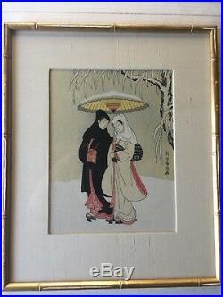 Suzuki Harunobu Lovers under an umbrella in the Snow Original Woodblock Print