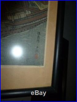 TAKAHASHI SHOTEI Japanese woodblock print Starry Night