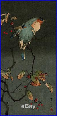 TAKAHASHI SHOTEI,'LOVE BIRDS', Japanese woodblock print, c. 1915