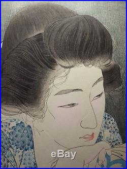 TORII KOTONDO JAPANESE WOODBLOCK PRINT Morning Hair SHIN HANGA Bijin Beaties