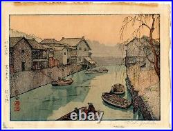 TOSHI YOSHIDA Iidabashi Village antique Japanese Woodblock Print