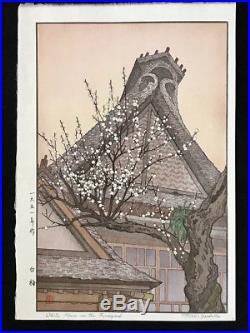 TOSHI YOSHIDA Japanese Woodblock Print WHITE PLUM IN THE FARMYARD