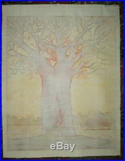 TOSHI YOSHIDA-Oversized Japanese Woodblock Print-Baobab And Rhino-1979