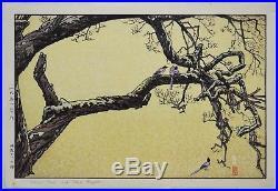 TOSHI YOSHIDA (Yoshida Hiroshi son) Japanese woodblock print ORIGINAL Plum tree