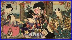 TOYOHARA KUNICHIKA Original Japanese Woodblock Print Triptych Ukiyo-e