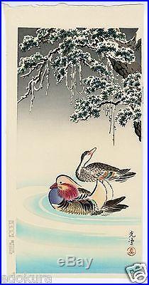 TSUCHIYA KOITSU JAPANESE Hand Printed Woodblock Print Mandrain Ducks