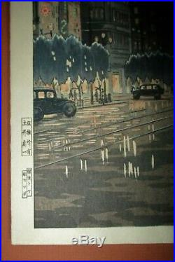 TSUCHIYA KOITSU-Japanese Woodblock Print-GINZA IN RAIN-First Edition-RARE