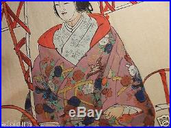 TSUKIOKA KOGYO 1922 Orig JAPANESE WOODBLOCK PRINT Nogaku hyakuban KUMANO