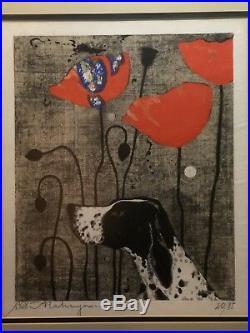 Tadashi Nakayama Japanese Woodblock Print 1968 Poppies Flowers Dog Signed 20/85