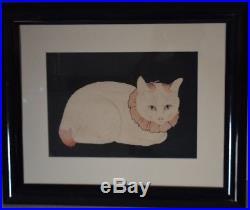 Takahashi Shotei Japanese Woodblock Print Tama the Cat